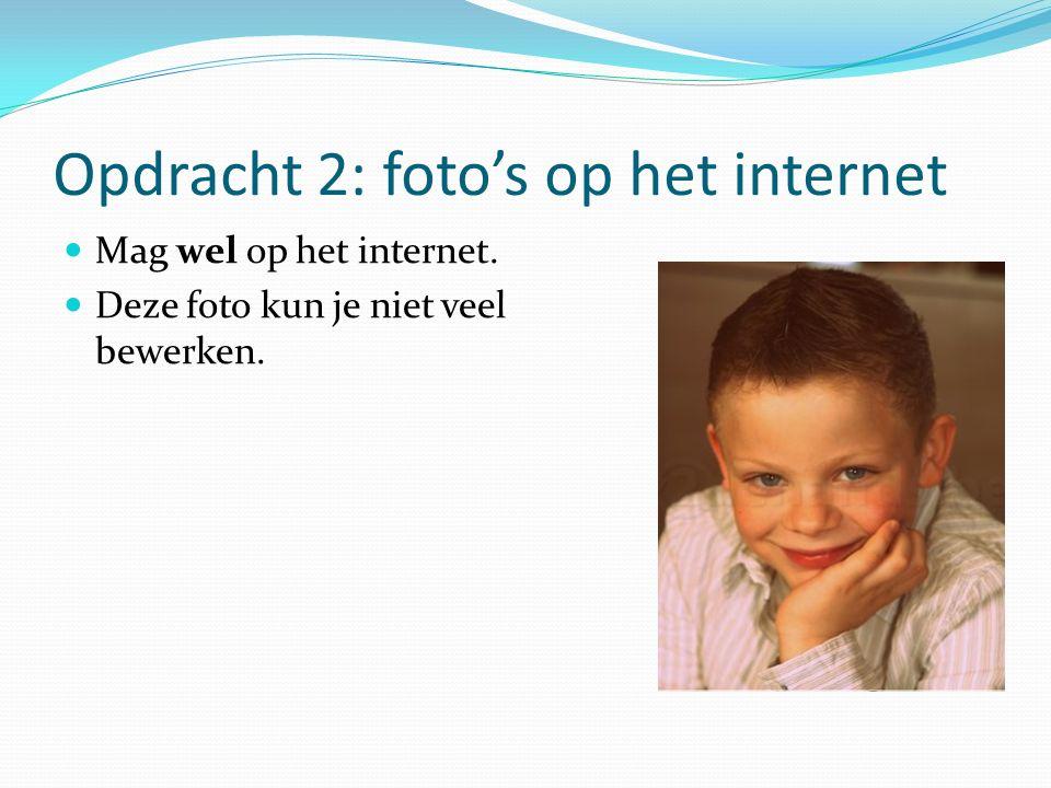 Opdracht 2: foto's op het internet Mag wel op het internet. Deze foto kun je niet veel bewerken.
