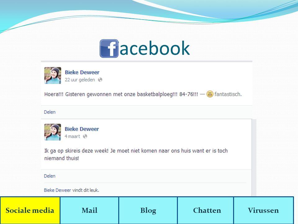 Chatten Chatten = tekstjes boven elkaar van één of meerdere personen Sociale mediaMailBlogChattenVirussen