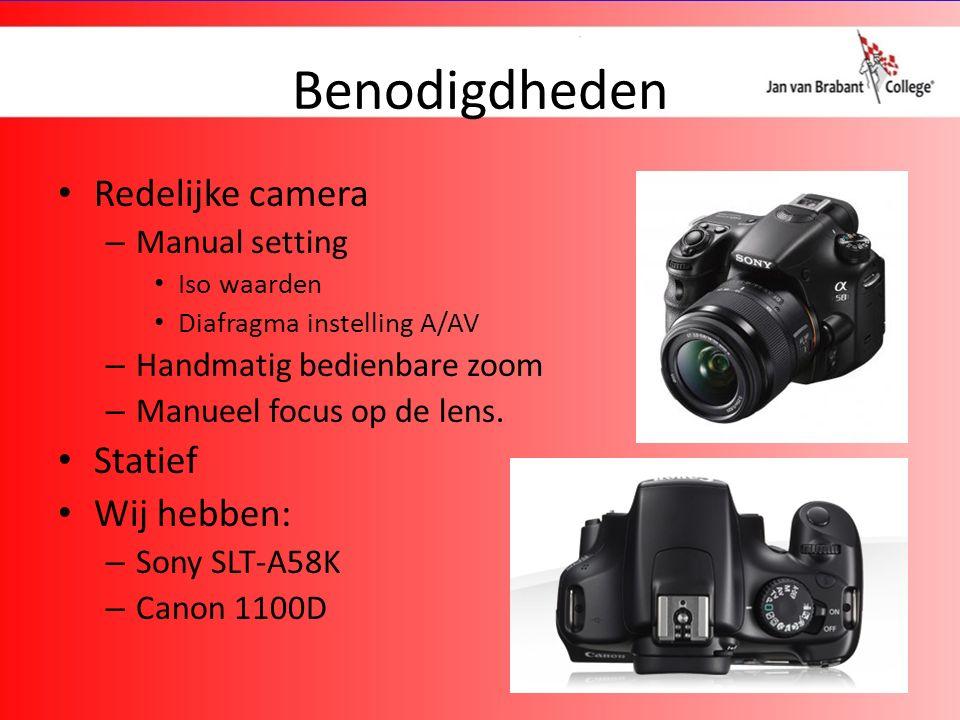 Benodigdheden Redelijke camera – Manual setting Iso waarden Diafragma instelling A/AV – Handmatig bedienbare zoom – Manueel focus op de lens.