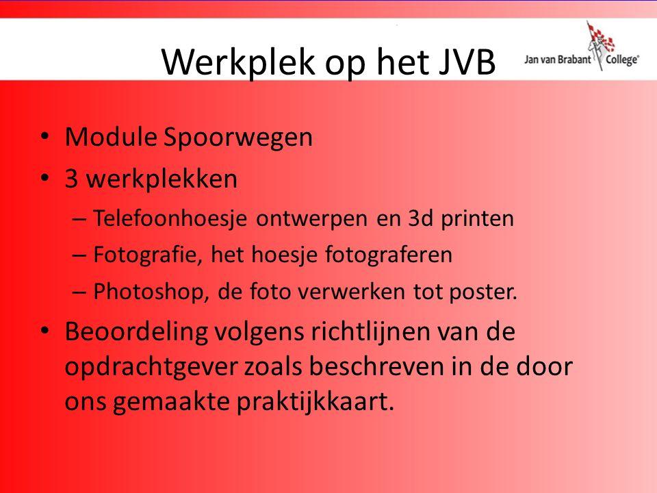 Werkplek op het JVB Module Spoorwegen 3 werkplekken – Telefoonhoesje ontwerpen en 3d printen – Fotografie, het hoesje fotograferen – Photoshop, de foto verwerken tot poster.