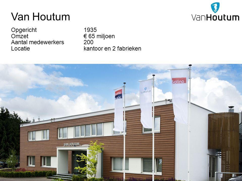 Van Houtum Opgericht 1935 Omzet € 65 miljoen Aantal medewerkers200 Locatiekantoor en 2 fabrieken