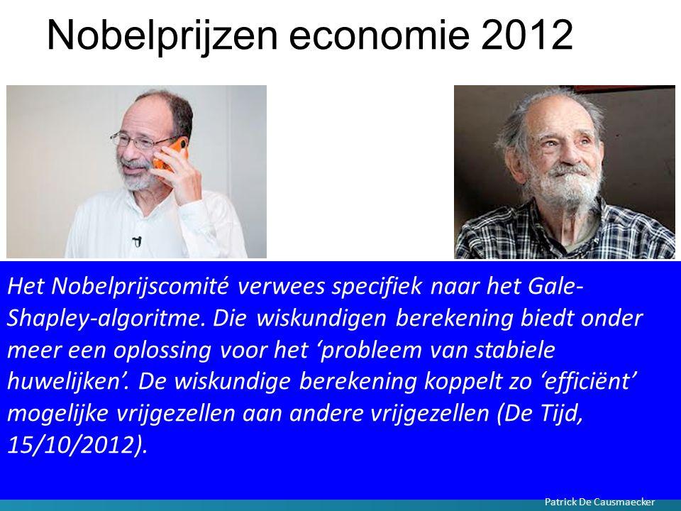 Nobelprijzen economie 2012 Het Nobelprijscomité verwees specifiek naar het Gale- Shapley-algoritme. Die wiskundigen berekening biedt onder meer een op