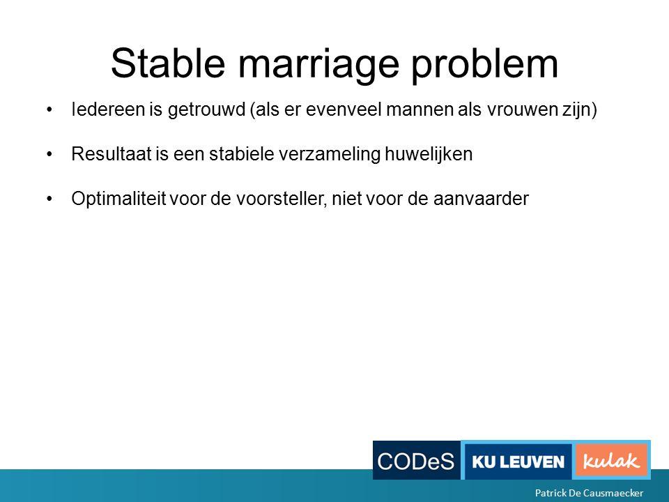 Stable marriage problem Iedereen is getrouwd (als er evenveel mannen als vrouwen zijn) Resultaat is een stabiele verzameling huwelijken Optimaliteit voor de voorsteller, niet voor de aanvaarder Patrick De Causmaecker