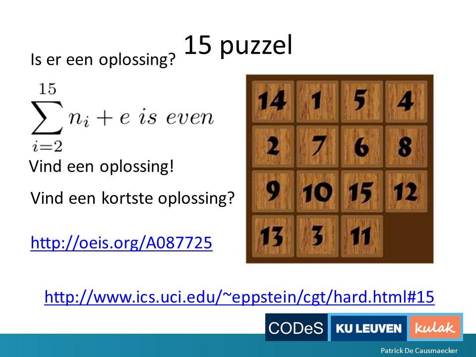 15 puzzel http://www.ics.uci.edu/~eppstein/cgt/hard.html#15 Is er een oplossing.
