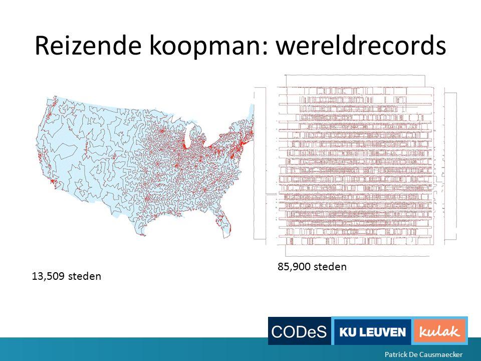 Reizende koopman: wereldrecords 85,900 steden 13,509 steden Patrick De Causmaecker