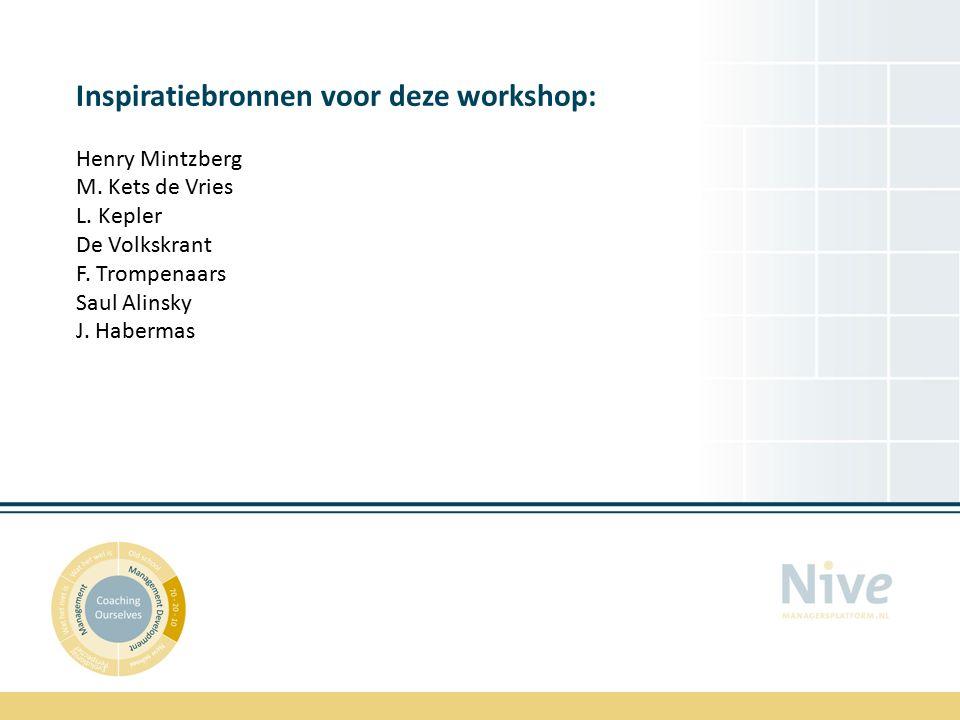 Inspiratiebronnen voor deze workshop: Henry Mintzberg M.