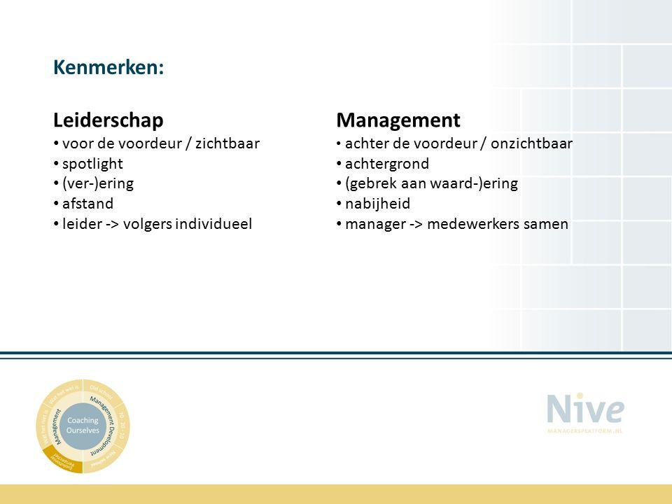 Kenmerken: Leiderschap voor de voordeur / zichtbaar spotlight (ver-)ering afstand leider -> volgers individueel Management achter de voordeur / onzichtbaar achtergrond (gebrek aan waard-)ering nabijheid manager -> medewerkers samen