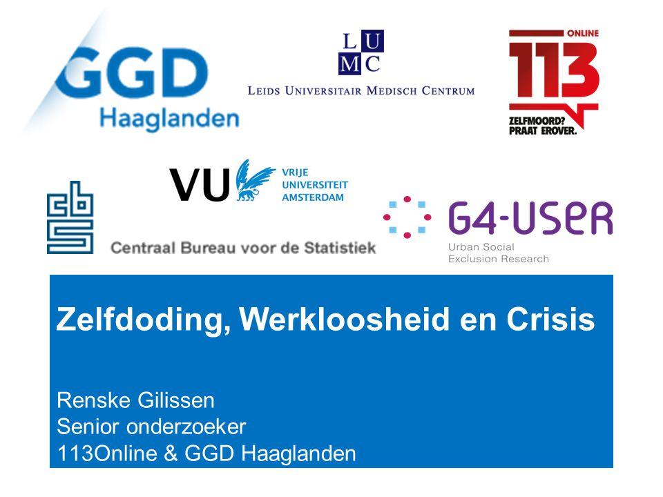 Zelfdoding, Werkloosheid en Crisis Renske Gilissen Senior onderzoeker 113Online & GGD Haaglanden