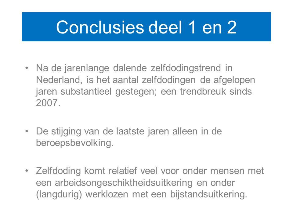 Conclusies deel 1 en 2 Na de jarenlange dalende zelfdodingstrend in Nederland, is het aantal zelfdodingen de afgelopen jaren substantieel gestegen; ee
