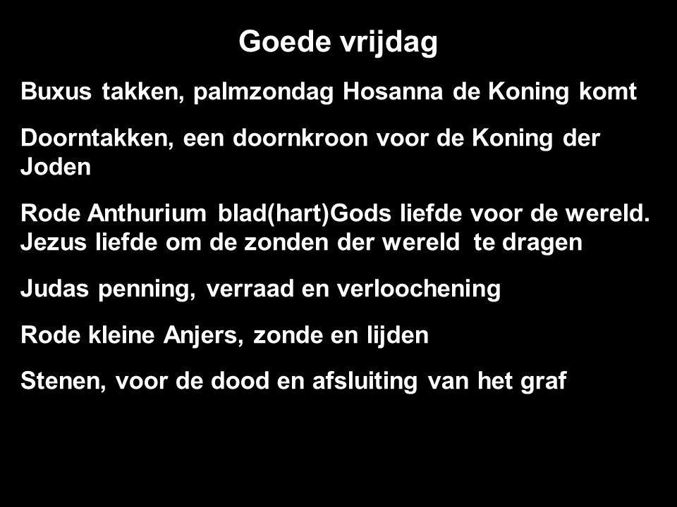 Buxus takken, palmzondag Hosanna de Koning komt Doorntakken, een doornkroon voor de Koning der Joden Rode Anthurium blad(hart)Gods liefde voor de wereld.
