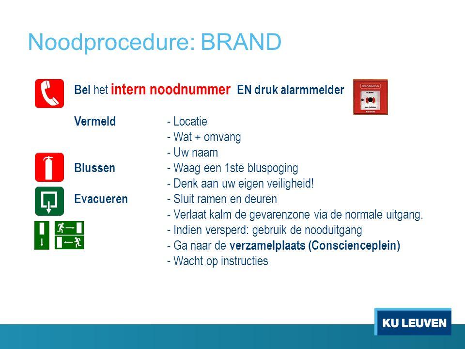 Noodprocedure: BRAND Bel het intern noodnummer EN druk alarmmelder Vermeld - Locatie - Wat + omvang - Uw naam Blussen - Waag een 1ste bluspoging - Denk aan uw eigen veiligheid.