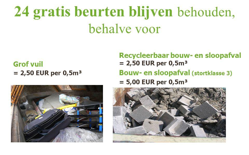 24 gratis beurten blijven behouden, behalve voor Grof vuil = 2,50 EUR per 0,5m³ Recycleerbaar bouw- en sloopafval = 2,50 EUR per 0,5m³ Bouw- en sloopafval (stortklasse 3) = 5,00 EUR per 0,5m³