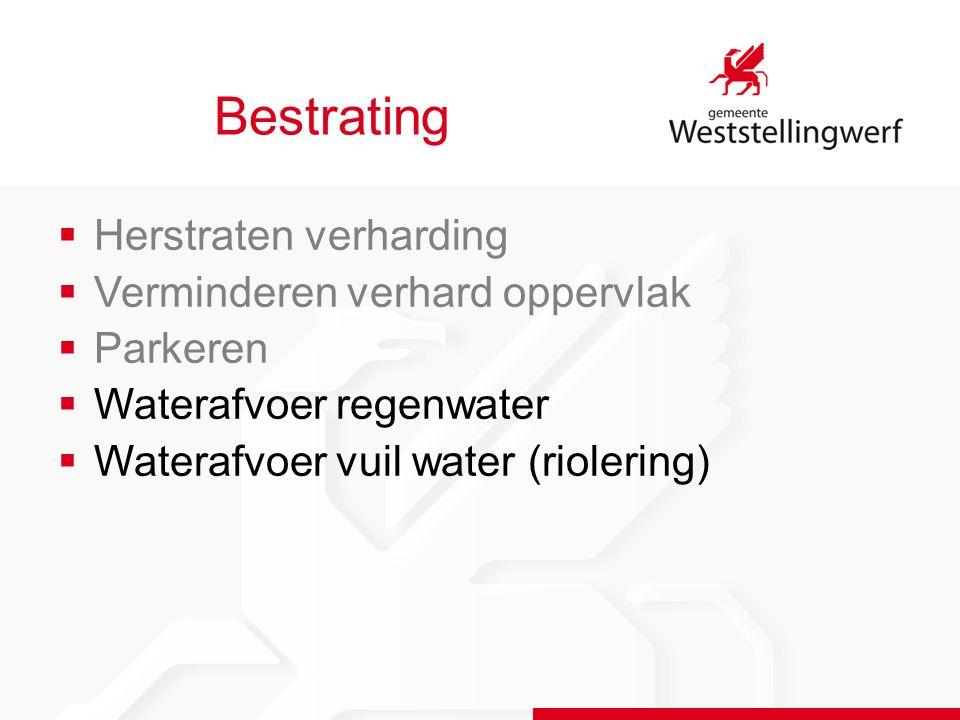 Bestrating  Herstraten verharding  Verminderen verhard oppervlak  Parkeren  Waterafvoer regenwater  Waterafvoer vuil water (riolering)