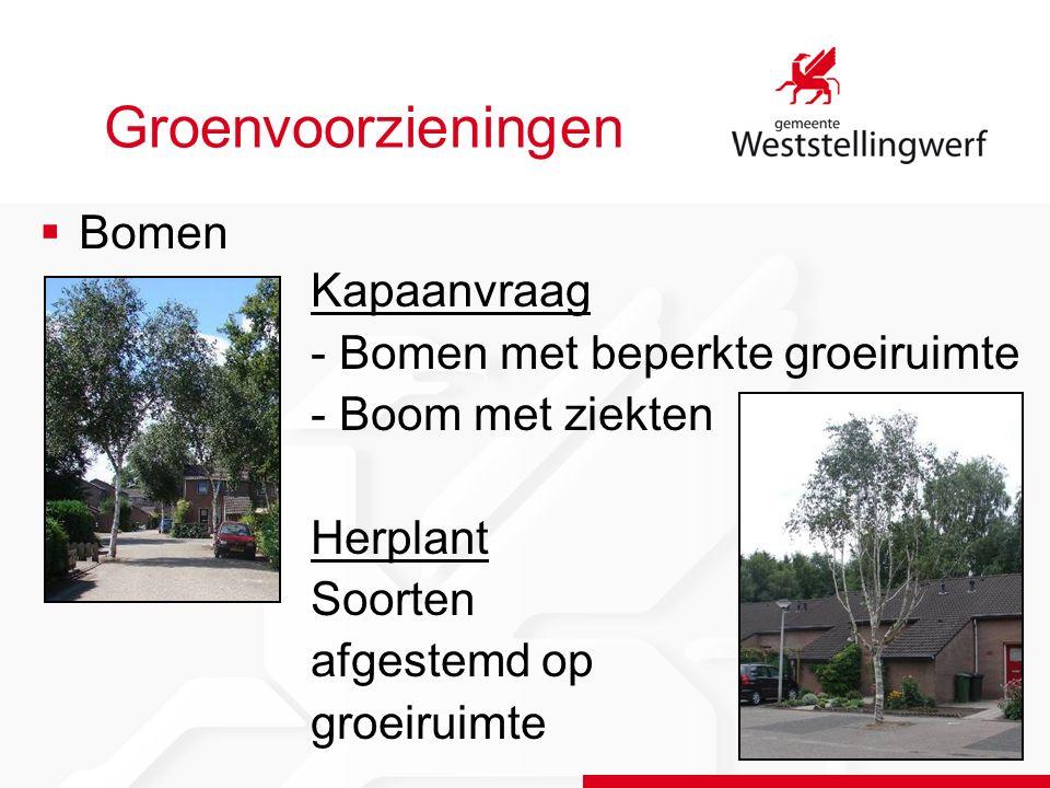 Groenvoorzieningen  Bomen Kapaanvraag - Bomen met beperkte groeiruimte - Boom met ziekten Herplant Soorten afgestemd op groeiruimte