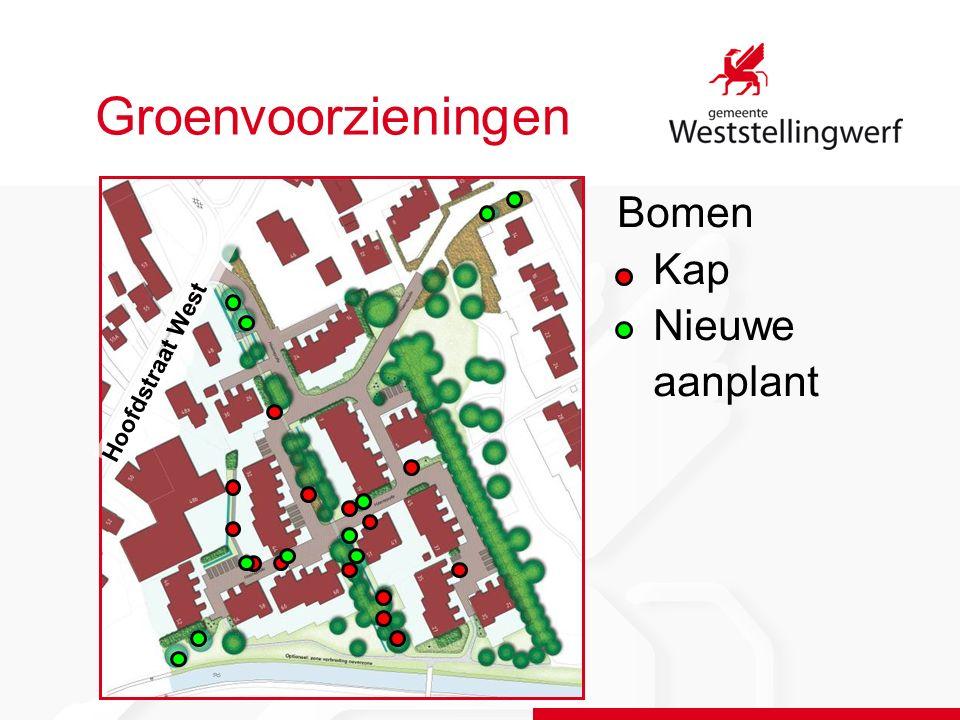 Groenvoorzieningen Bomen Kap Nieuwe aanplant Hoofdstraat West