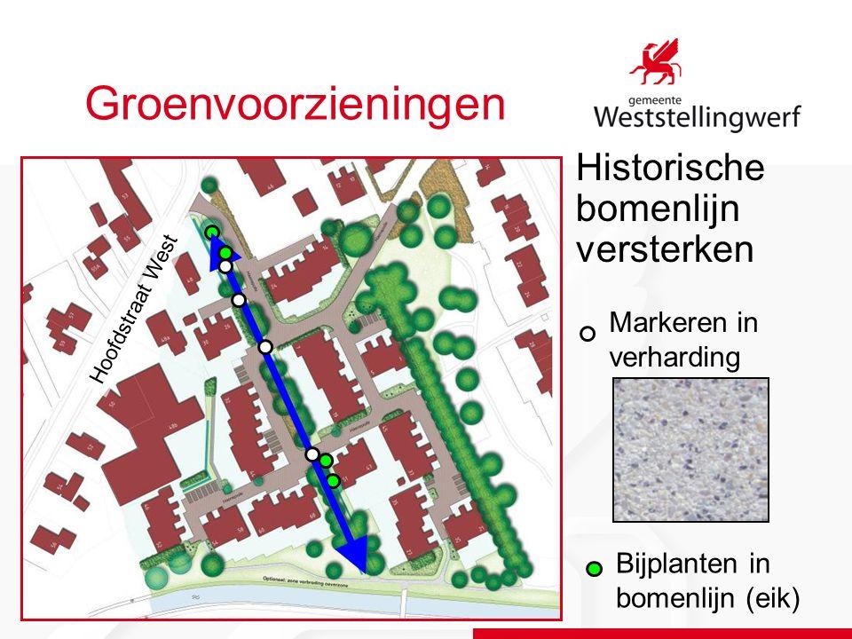 Groenvoorzieningen Historische bomenlijn versterken Hoofdstraat West Markeren in verharding Bijplanten in bomenlijn (eik)