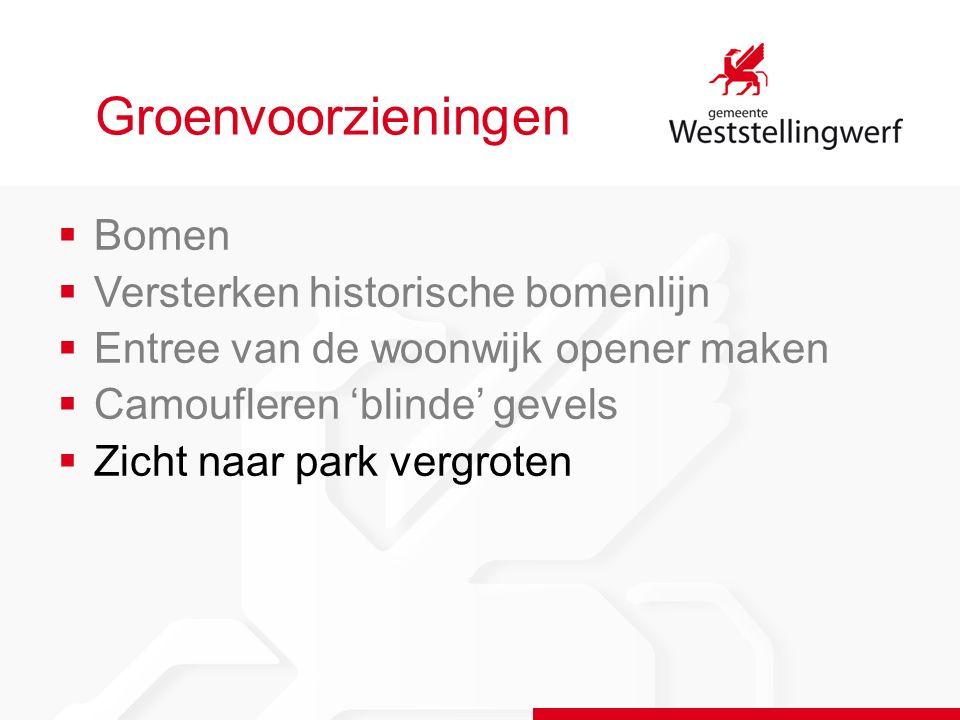 Groenvoorzieningen  Bomen  Versterken historische bomenlijn  Entree van de woonwijk opener maken  Camoufleren 'blinde' gevels  Zicht naar park vergroten