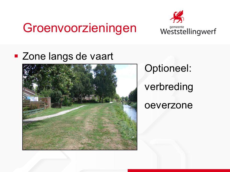 Groenvoorzieningen  Zone langs de vaart Optioneel: verbreding oeverzone