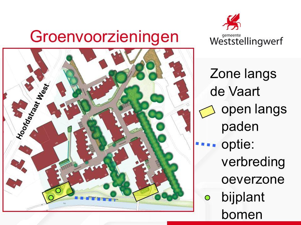 Groenvoorzieningen Zone langs de Vaart open langs paden optie: verbreding oeverzone bijplant bomen Hoofdstraat West