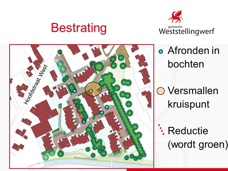 Bestrating Hoofdstraat West Afronden in bochten Versmallen kruispunt Reductie (wordt groen)