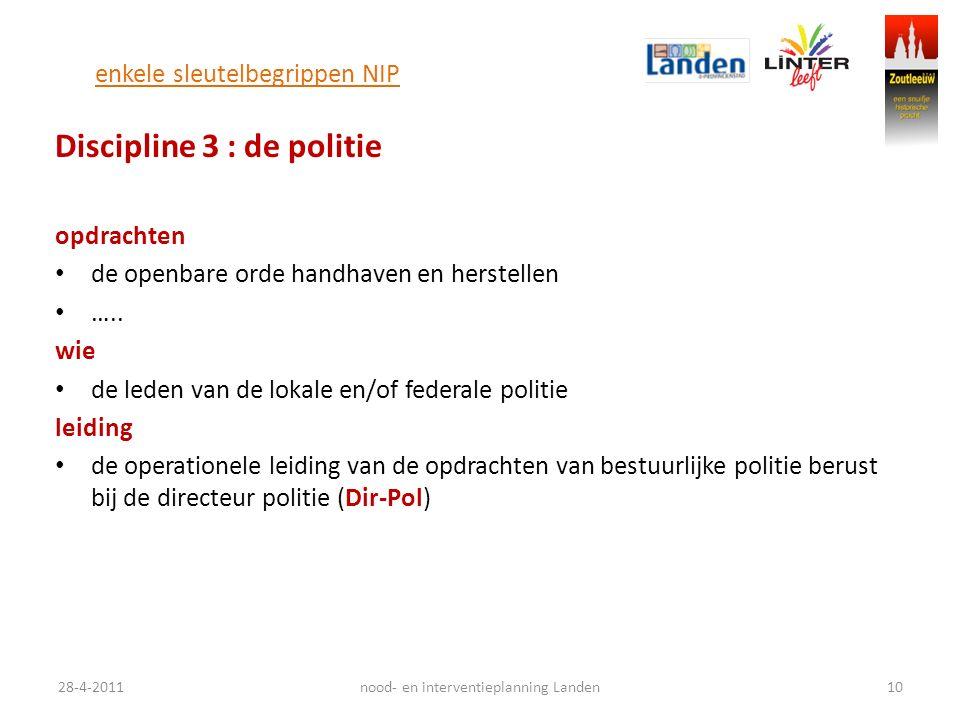 enkele sleutelbegrippen NIP Discipline 3 : de politie opdrachten de openbare orde handhaven en herstellen …..