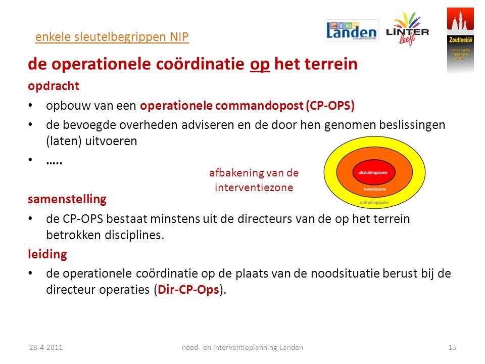 enkele sleutelbegrippen NIP de operationele coördinatie op het terrein opdracht opbouw van een operationele commandopost (CP-OPS) de bevoegde overheden adviseren en de door hen genomen beslissingen (laten) uitvoeren …..