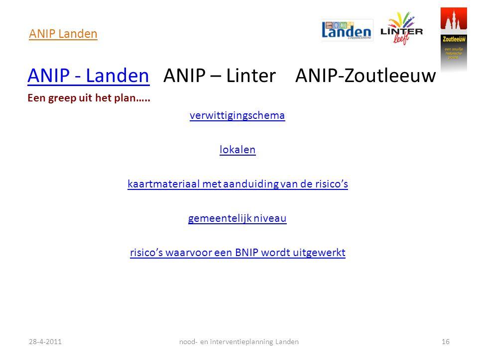 ANIP Landen 28-4-201116nood- en interventieplanning Landen ANIP - LandenANIP - Landen ANIP – Linter ANIP-Zoutleeuw Een greep uit het plan….. verwittig