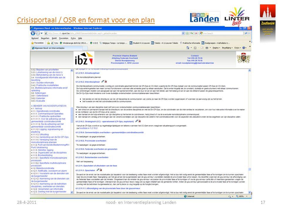 Crisisportaal / OSR en format voor een plan 28-4-201117nood- en interventieplanning Landen