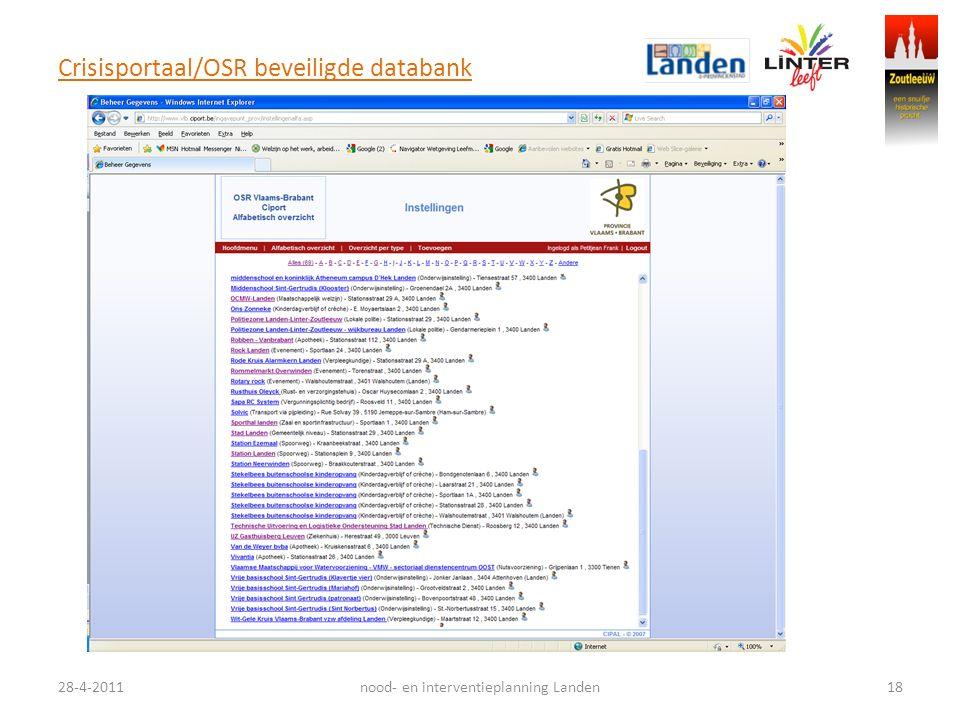 Crisisportaal/OSR beveiligde databank 28-4-201118nood- en interventieplanning Landen