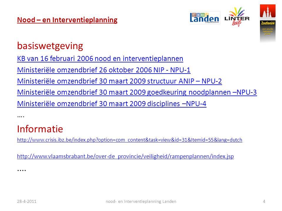 Nood – en Interventieplanning basiswetgeving KB van 16 februari 2006 nood en interventieplannen Ministeriële omzendbrief 26 oktober 2006 NIP - NPU-1 M