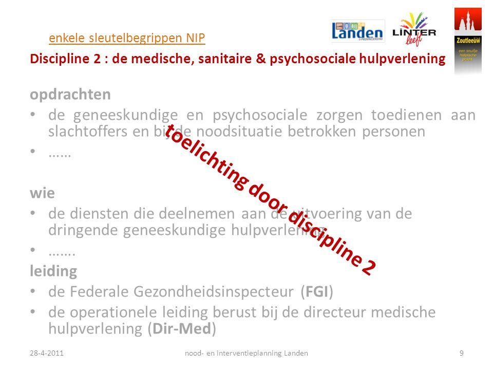 enkele sleutelbegrippen NIP Discipline 2 : de medische, sanitaire & psychosociale hulpverlening opdrachten de geneeskundige en psychosociale zorgen to