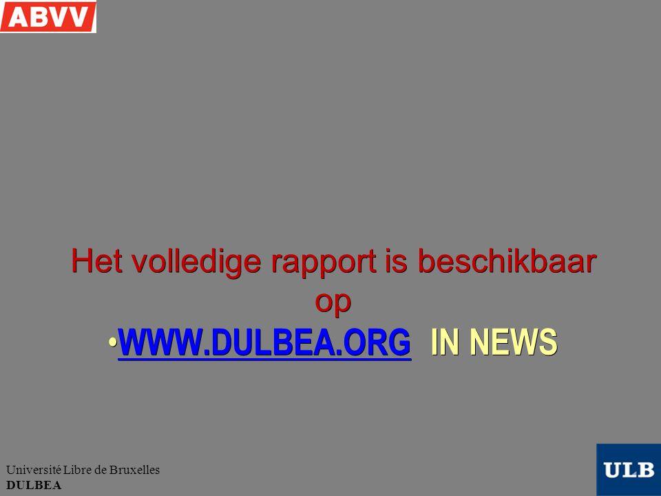 Université Libre de Bruxelles DULBEA WWW.DULBEA.ORG IN NEWS WWW.DULBEA.ORG IN NEWS WWW.DULBEA.ORG Het volledige rapport is beschikbaar op