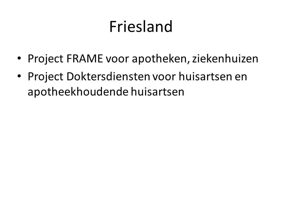 Friesland Project FRAME voor apotheken, ziekenhuizen Project Doktersdiensten voor huisartsen en apotheekhoudende huisartsen