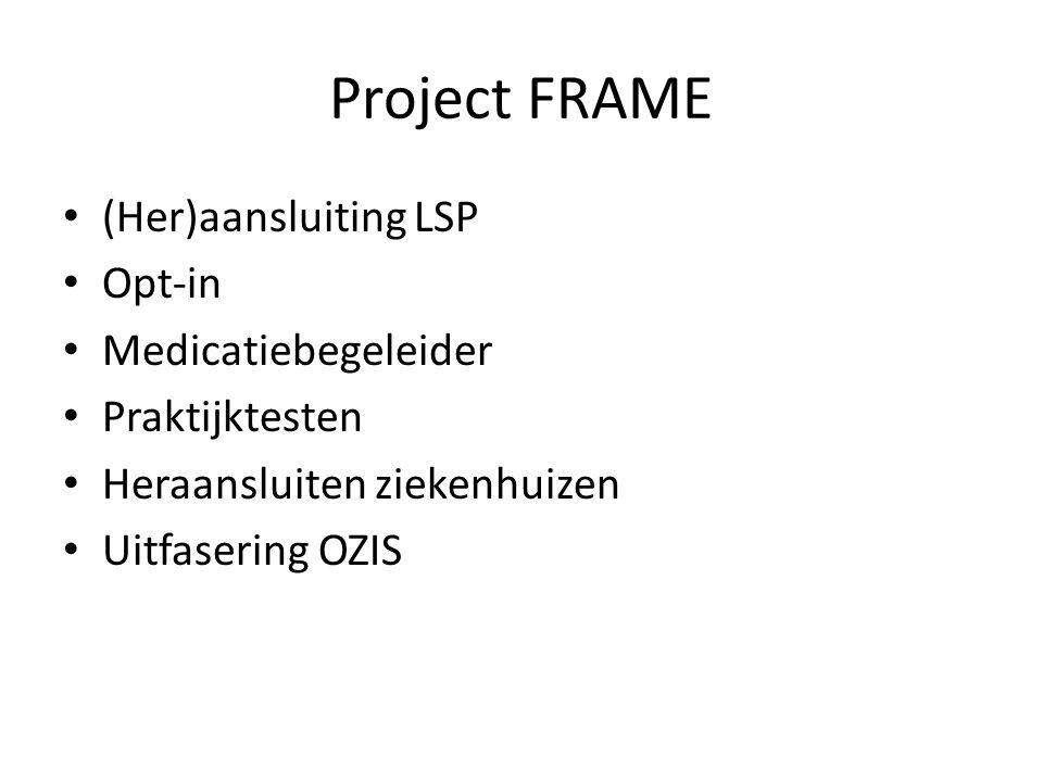 Project FRAME (Her)aansluiting LSP Opt-in Medicatiebegeleider Praktijktesten Heraansluiten ziekenhuizen Uitfasering OZIS