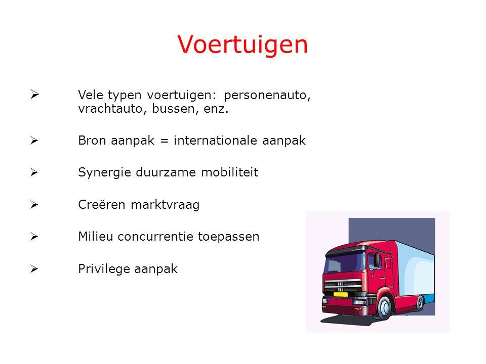 Voertuigen  Vele typen voertuigen: personenauto, vrachtauto, bussen, enz.  Bron aanpak = internationale aanpak  Synergie duurzame mobiliteit  Creë