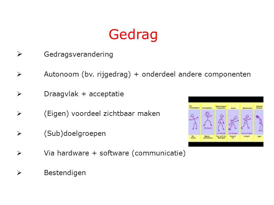 Gedrag  Gedragsverandering  Autonoom (bv. rijgedrag) + onderdeel andere componenten  Draagvlak + acceptatie  (Eigen) voordeel zichtbaar maken  (S