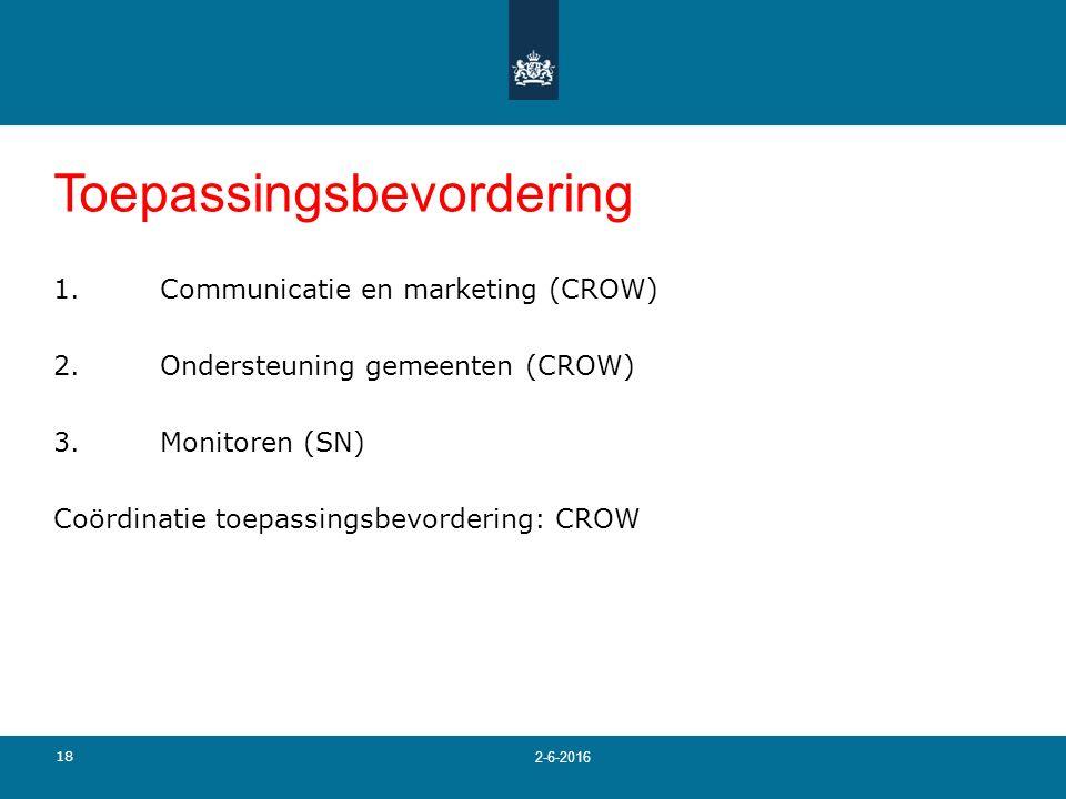 18 2-6-2016 Toepassingsbevordering 1.Communicatie en marketing (CROW) 2.Ondersteuning gemeenten (CROW) 3.Monitoren (SN) Coördinatie toepassingsbevorde