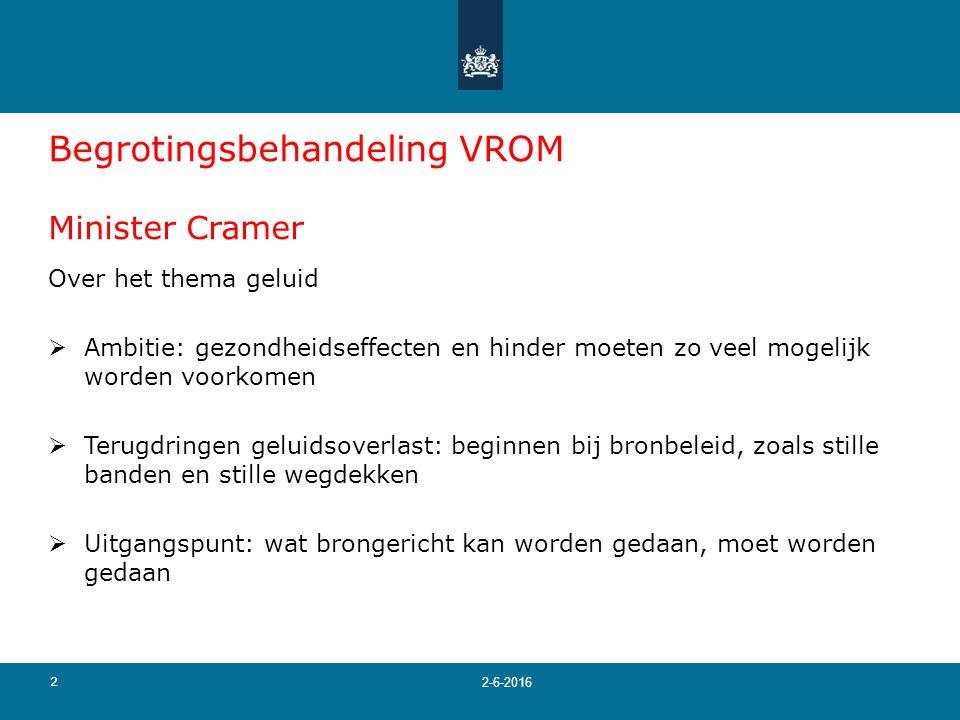 2 2-6-2016 Begrotingsbehandeling VROM Minister Cramer Over het thema geluid  Ambitie: gezondheidseffecten en hinder moeten zo veel mogelijk worden vo