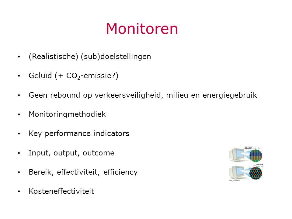 Monitoren (Realistische) (sub)doelstellingen Geluid (+ CO 2 -emissie?) Geen rebound op verkeersveiligheid, milieu en energiegebruik Monitoringmethodie