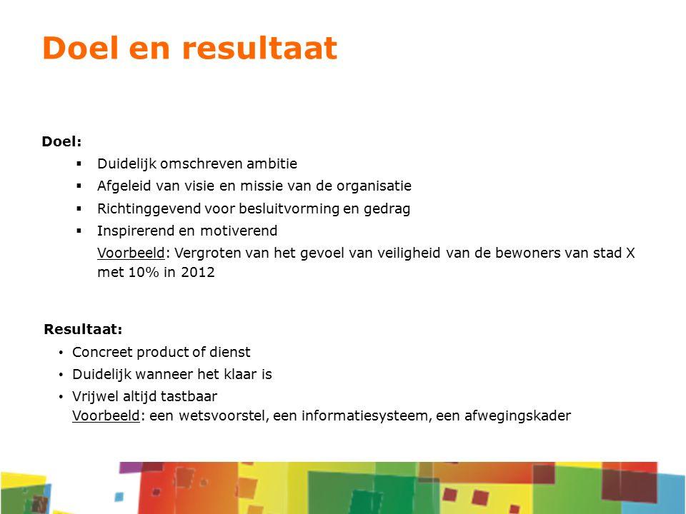 Doel en resultaat Doel:  Duidelijk omschreven ambitie  Afgeleid van visie en missie van de organisatie  Richtinggevend voor besluitvorming en gedra