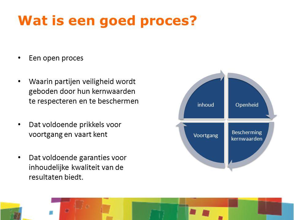 Een open proces Waarin partijen veiligheid wordt geboden door hun kernwaarden te respecteren en te beschermen Dat voldoende prikkels voor voortgang en