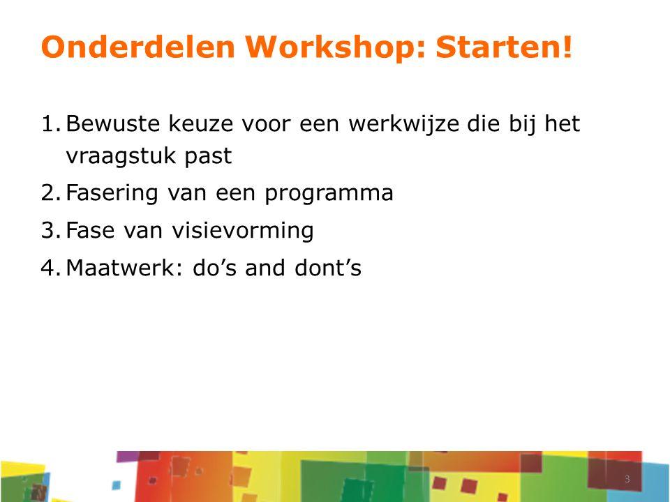 Onderdelen Workshop: Starten! 1.Bewuste keuze voor een werkwijze die bij het vraagstuk past 2.Fasering van een programma 3.Fase van visievorming 4.Maa