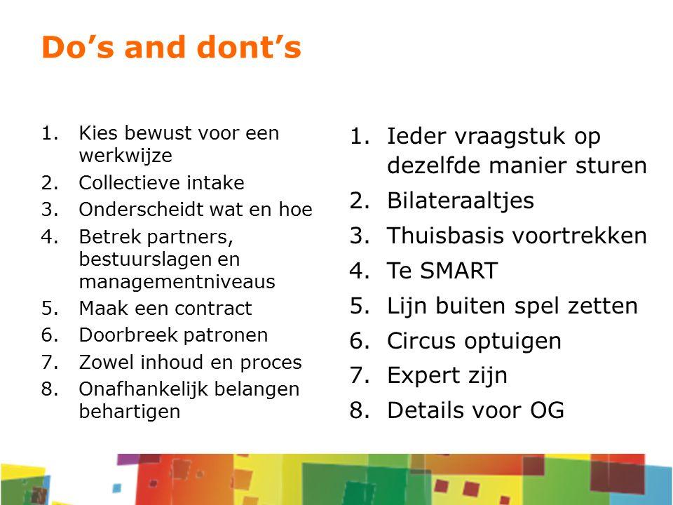 1.Kies bewust voor een werkwijze 2.Collectieve intake 3.Onderscheidt wat en hoe 4.Betrek partners, bestuurslagen en managementniveaus 5.Maak een contr