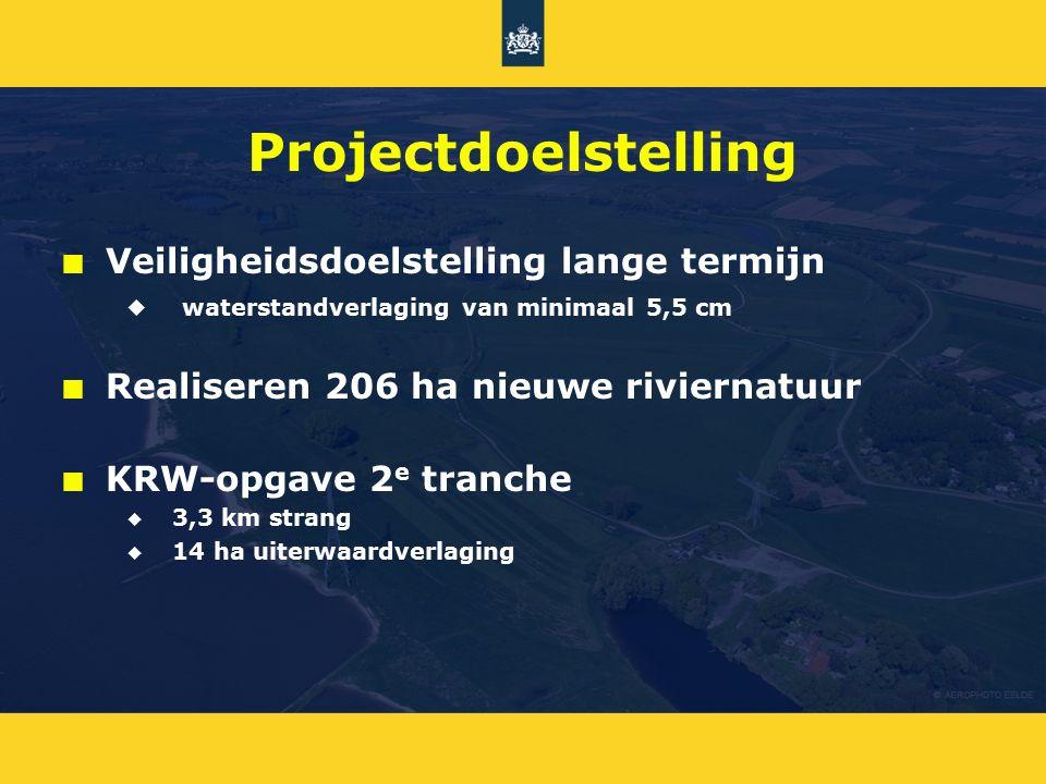 Projectdoelstelling n n Veiligheidsdoelstelling lange termijn u u waterstandverlaging van minimaal 5,5 cm n n Realiseren 206 ha nieuwe riviernatuur n