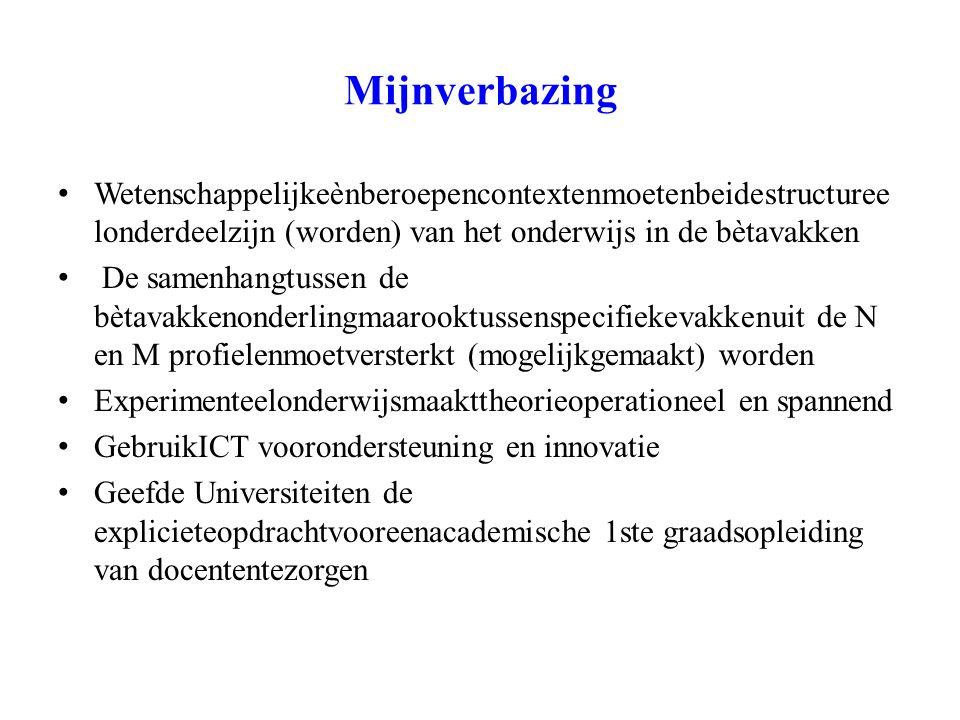 De toekomst (vanaf 1 jan 2010) Zorgvooreen continue verdereontwikkeling van de bètavakken en zetdaarregie op.