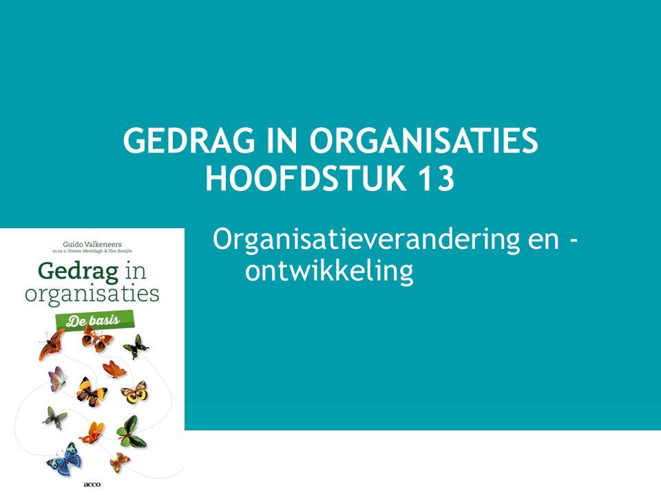 Organisatieverandering en - ontwikkeling GEDRAG IN ORGANISATIES HOOFDSTUK 13 1