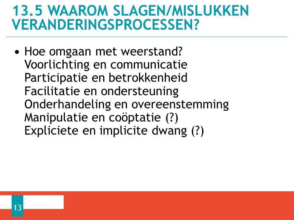 13.5 WAAROM SLAGEN/MISLUKKEN VERANDERINGSPROCESSEN.