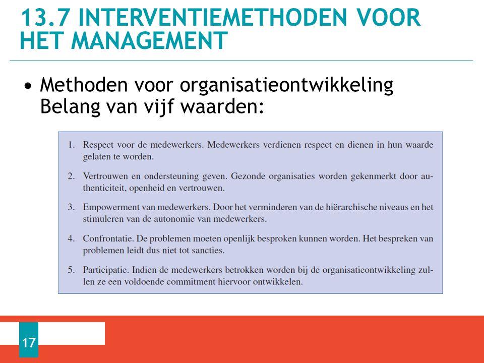 Methoden voor organisatieontwikkeling Belang van vijf waarden: 13.7 INTERVENTIEMETHODEN VOOR HET MANAGEMENT 17
