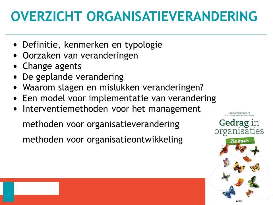 Verandering = wijziging van bestaande toestand; als de organisatie doelgericht in korte tijd ingrijpend en planmatig wijzigt Ontwikkeling: als de organisatie zich geleidelijk wijzigt.