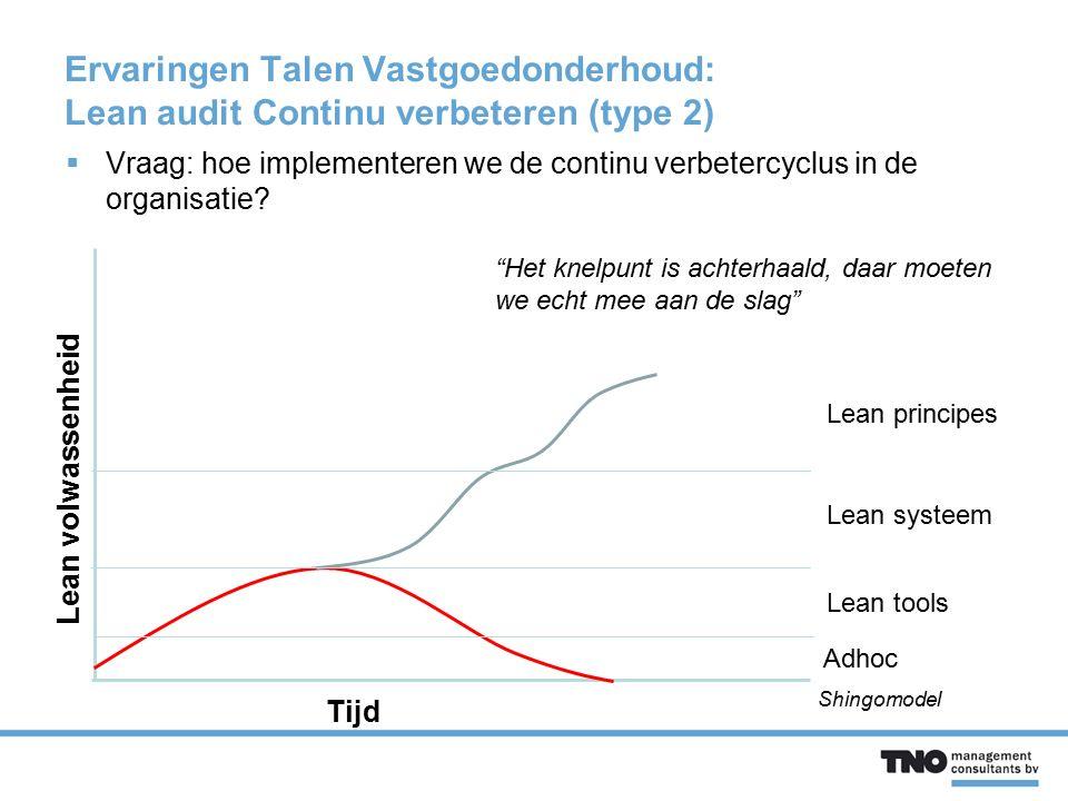 Ervaringen Talen Vastgoedonderhoud: Lean audit Continu verbeteren (type 2)  Vraag: hoe implementeren we de continu verbetercyclus in de organisatie?